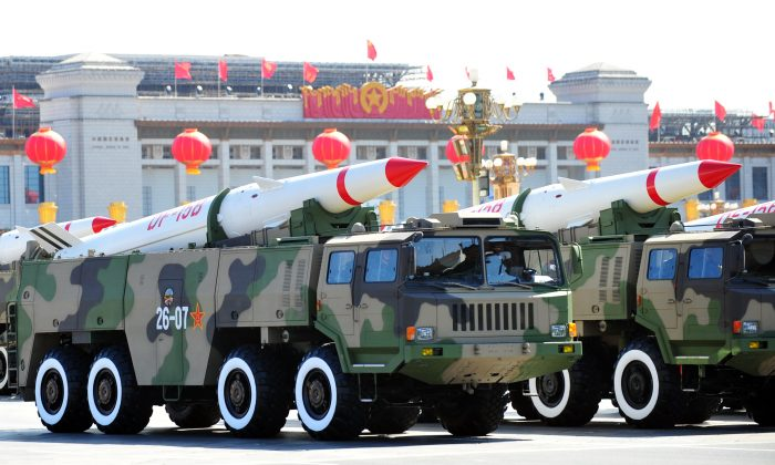 In a file picture China's military shows off their latest missiles during a parade on taken on Oct. 1, 2009 in Beijing. Representatives of the People's Liberation Army Second Artillery Force, which operates China's strategic nuclear weapons, attended the training on the electromagnetic spectrum held in Chengdu, China, Oct. 11-12, 2013. (Frederic J. Brown/AFP/Getty Images)