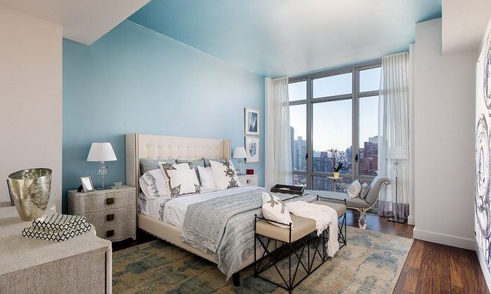 A bedroom in the 2,688-square-foot Penthouse B at Azure, redesigned by Bjorn Bjornsson. (Evan Joseph)