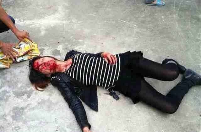 """Villagers at the site of a forced demolition of a house are suddenly surrounded by hundreds of police and thugs who """"beat up everyone in sight,"""" on Oct. 19 in Fuzhou City, China."""