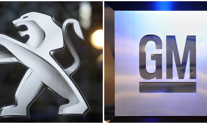 This photo combination shows the logos of French car maker PSA Peugeot Citroën (L) and the U.S. carmaker General Motors. (Fabrice Coffrini/AFP/Getty Images)