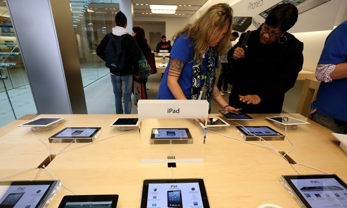 Fourth generation Apple iPads on display at an Apple store in San Francisco, Feb. 5. (Justin Sullivan/Getty Images)