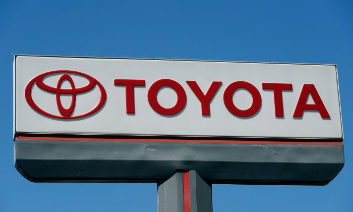 The Toyota Motor Corp. logo at a car dealership in Los Angeles, April 11. (Kevork Djansezian/Getty Images)