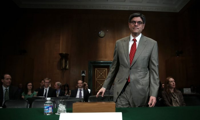 U.S. Treasury Secretary Jack Lew at hearing before the Senate Banking, Housing, and Urban Affairs Committee in Washington, May 21. A Treasury Department report warned that a debt default would hurt the world economy. (Alex Wong/Getty Images)