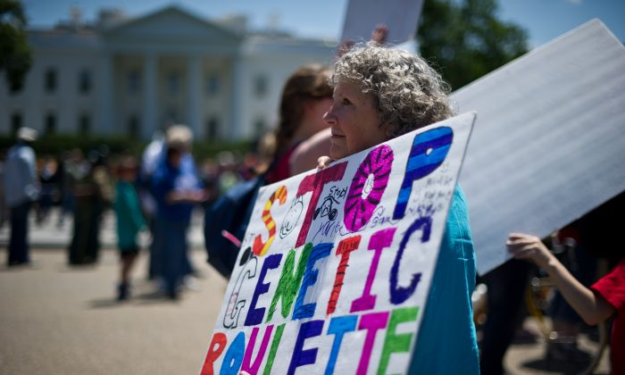A woman holds a sign during a demonstration against Monsanto and genetically modified organisms (GMO) in front of the White House, May 25, 2013. (Nicholas Kamm/AFP/Getty Images)