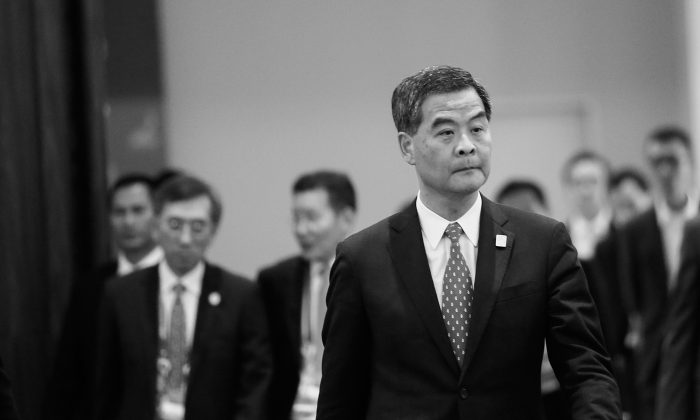 Hong Kong Chief Executive Leung Chun-ying arrives to attend the Leaders Retreat during the Asia-Pacific Economic Cooperation forum in Bali, Indonesia, on Monday, Oct. 7, 2013. During the APEC meeting, Leung had a 40 minute meeting with Chinese Communist Party head Xi Jinping. (Putu Sayoga/Getty Images)