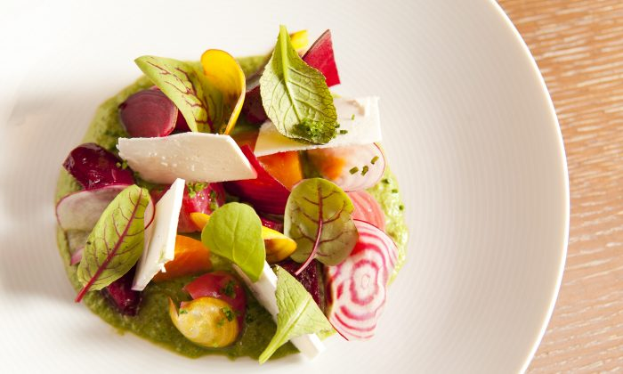 "Beets ""Cuit et Cru"" with lettuce coulis and ricotta salata ($14). (Samira Bouaou/Epoch Times)"