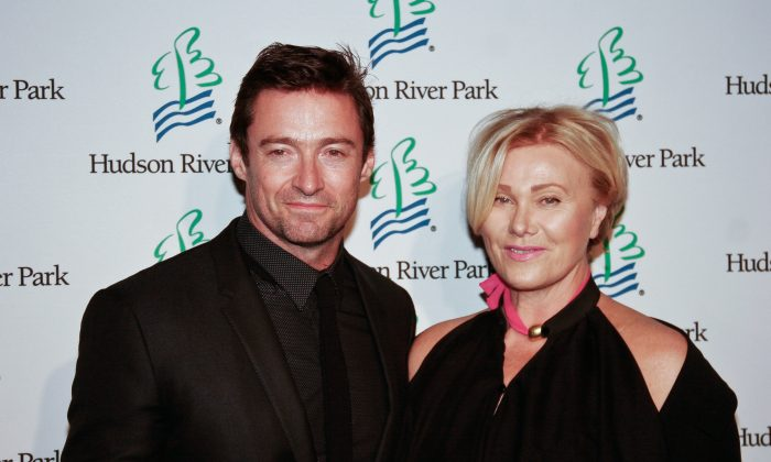 Academy Award-nominated actor Hugh Jackman and wife, Deborra-Lee Furness, at the 2013 Friends of the Hudson River Park Gala at Pier 57 in New York City on Oct. 3, 2013. (Courtesy of Jack Feinberg)