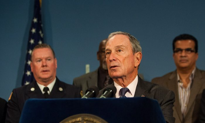 Mayor Michael Bloomberg announced Super Bowl charity initiatives for New York and New Jersey, at City Hall, Oct. 10, 2013. (Petr Svab/Epoch Times)