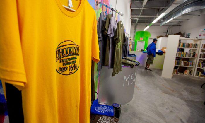 T-shirts on display at the Brooklyn Rock store on Coney Island's Stillwell Avenue, Brooklyn, New York, Oct. 12, 2013. (Petr Svab/Epoch Times)