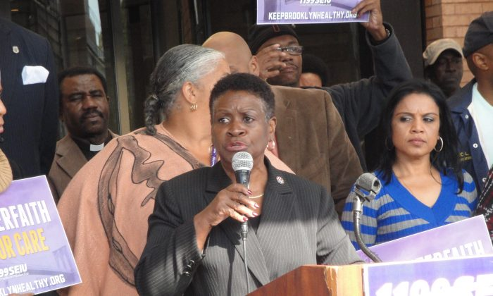 Assemblywoman Annette Robinson speaks at a rally at the Interfaith Medical Center in Brooklyn, New York, Oct. 14, 2013. (Sarah Matheson/Epoch Times)