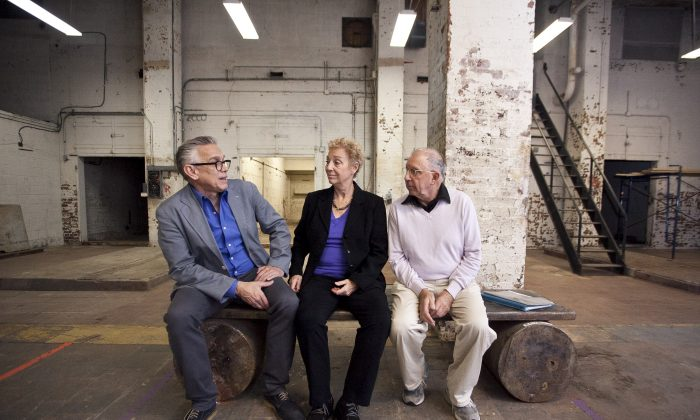 Westbeth residents (L-R) George Comiskie, Nancy Gabor, and Paul Binnerts in the building's now empty basement in Manhattan, New York, Oct. 14, 2013. (Samira Bouaou/Epoch Times)