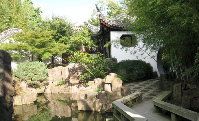 The New York Chinese Scholar's Garden is part of Staten Island Botanical Garden and embodies the characteristics and looks of an authentic oriental garden. (Courtesy of Chinese Cubes (USA) Inc.)