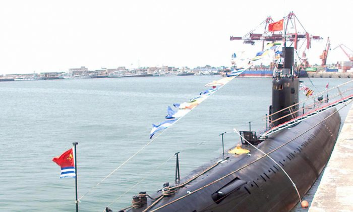 A file photo shows a Russian Kilo-class conventional submarine belonging to the Chinese People's Liberation Army (PLA) Navy at the naval headquarters of the China North Sea Fleet in the eastern Chinese port city of Qingdao on Aug. 2, 2000. The Chinese military may have made significant progress on its new submarine fleet, given recent media reports. (Goh Chai Hin/AFP/Getty Images)