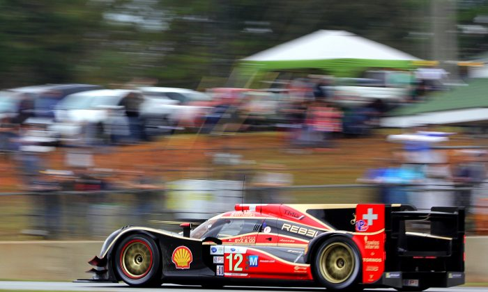 The #12 P1 Rebellion Racing Lola B12/60 leads ALMS Petit Le Mans after five hours of racing. (Chris Jasurek/Epoch Times)