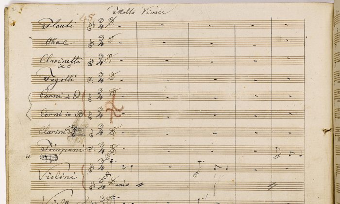 The copyist manuscript of the second movement of Ludwig van Beethoven's Symphony No. 9. (Courtesy of The Juilliard Manuscript Collection)