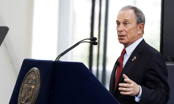 Mayor Michael Bloomberg speaks about the the city's long-term plans for dealing with climate change in New York, June 11, 2013. (Seth Wenig/AP)