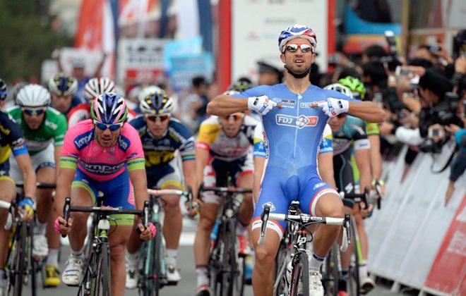 FDJ's Nacer Bouhanni celebrates winning Stage Two of the Tour of Beijing. (tourofbeijing.net)