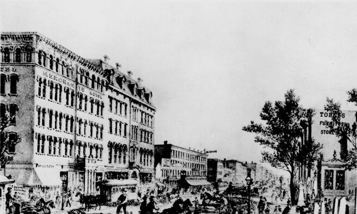 Chicago before 1868, looking north from State and Washington Streets. The buildings, streets, and sidewalks were raised by several feet starting in the latter half of the 1850s. (National Archives and Records)