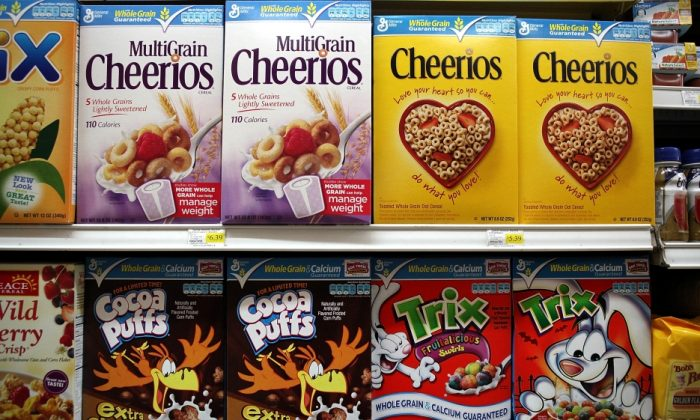 General Mills and over 30 other companies were forced to disclose their contributions to defeat a voter initiative in Washington state to label genetically engineered ingredients. (Justin Sullivan/Getty Images)