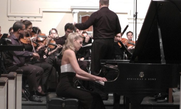 Pianist Jamina Gerl performing Rachmaninoff's Third Piano Concerto with the New York Concerti Sinfonietta on Oct.7 at NYU Parish, St. Joseph's Church, in Greenwich Village. (Sylvia Gerl)