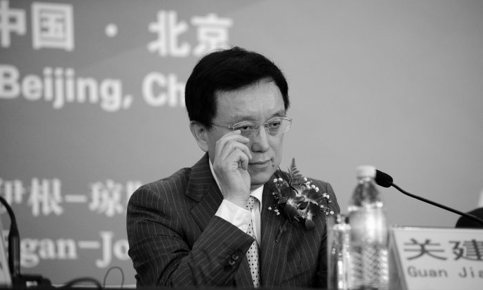 President Guan Jianzhong of Dagong Global Credit Rating at a press conference in Beijing, China, Oct. 24, 2012. (Wang Zhao/AFP/Getty Images)