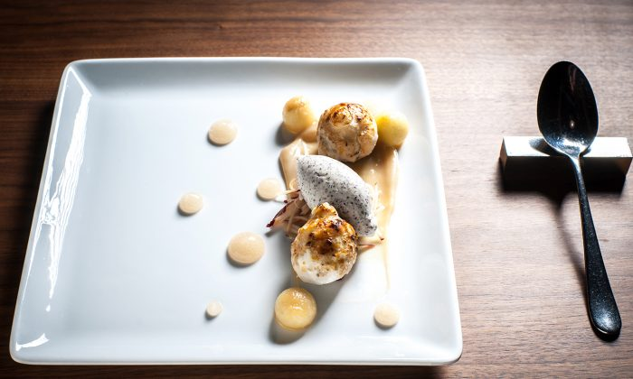 The Big Apple, with baked apple dumplings, cinnamon, poppyseed ice cream, and Calvados from Hospoda, a New American style restaurant on the Upper East Side. (Courtesy of Hospoda)