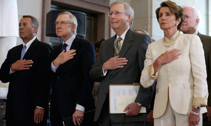 (L-R) Speaker of the House John Boehner (R-Ohio), Senate Majority Leader Harry Reid (D-Nev.), Senate Minority Leader Mitch McConnell (R-Ky.), House Minority Leader Nancy Pelosi (D-Calif.) and Sen. John Cornyn (R-TX) in Washington, D.C. on July 18, 2013. (Chip Somodevilla/Getty Images)