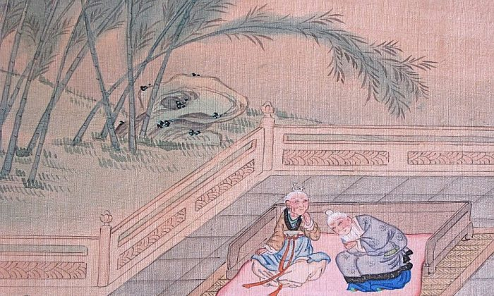 An illustration from a classic text of Confucian filial piety shows a son amusing his elderly parents by pretending to be a child. Aging is natural, and healthy aging is achievable.(Artist Guo Jujing)