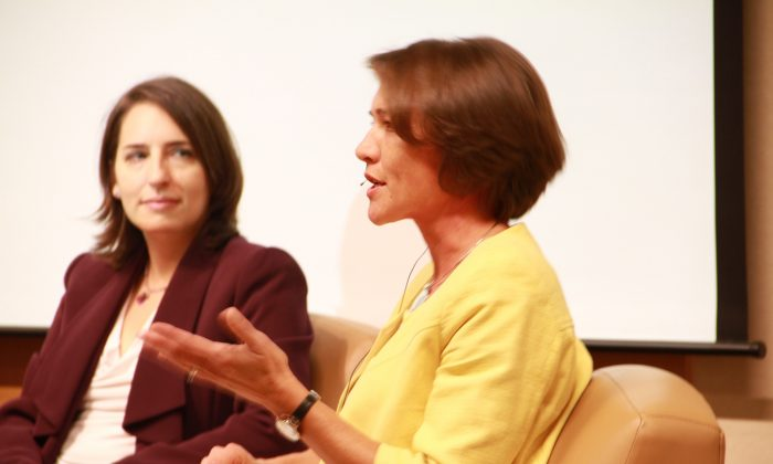Sarah Cook (L) with Louisa Greve (R) at the National Endowment for Democracy in Washington, D.C. on Oct. 22. Cook presented a report, along with Anne Nelson, about Chinese propaganda and censorship activities overseas. (National Endowment for Democracy)