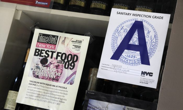 """The letter """"A"""" is shown as the Sanitary Inspection Grade for a restaurant in the SoHo neighborhood of New York, May 28, 2012. (Mark Lennihan/AP Photo)"""