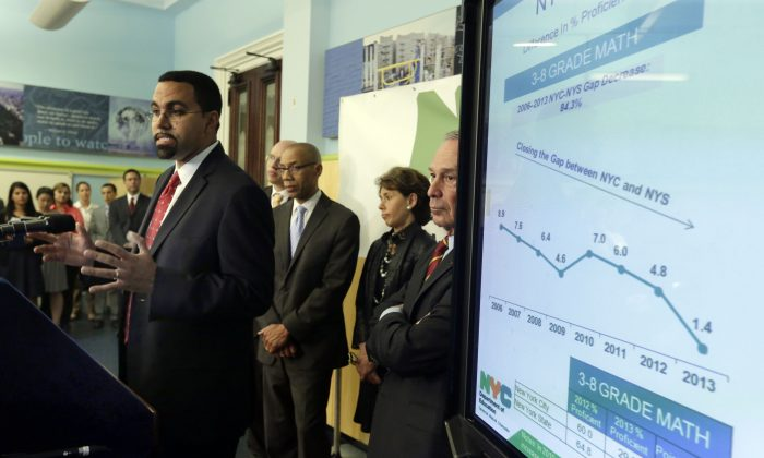 New York state Commissioner of Education John King Jr. (L) talks about standardized test scores during a news conference, in New York, Aug. 7, 2013. (Richard Drew/AP)