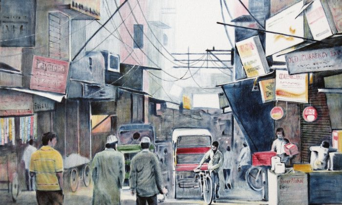 A painting from the series  'A Walk through the Old Delhi Streets' currently exhibited in a gallery in Bangalore city. (Courtesy Artist - Sirish Deshpande)