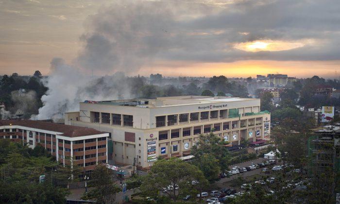 A smoldering Westgate Mall in Nairobi, Kenya, Sept. 26, 2013 (AP Photo/Ben Curtis)