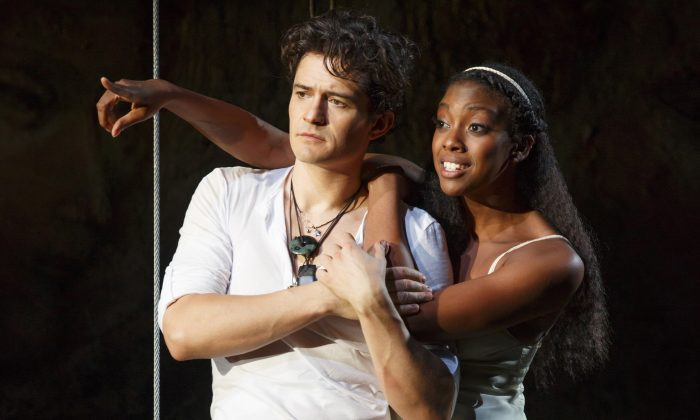 Romeo (Orlando Bloom) and Juliet (Condola Rashad), Shakespeare's iconic lovers. (Carol Rosegg)