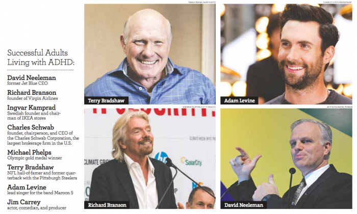Some successful adults living with ADHD:  Terry Bradshaw (Frank Franklin/AP Photo)  Adam Levine  (Charles Sykes/Invision/AP)  Richard Branson  (Andrew Burton/Getty Images)  David Neeleman  (Andre Penner/AP Photo)