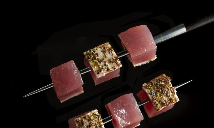 : Tuna Brochette from Le Bernardin, which Zagat ranked number one restaurant in New York City five years in a row. (Courtesy of Le Bernardin)