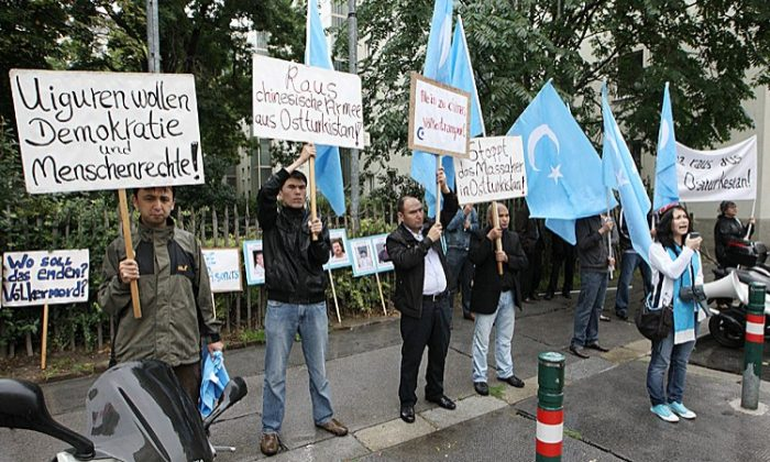 Some 20 activists demonstrate in front of the Chinese embassy in Vienna to protest against the repression of China's Uyghur minority in the northwestern region of Xinjiang on Aug. 1, 2011 in Vienna. (Dieter Nagl/AFP/Getty Images)