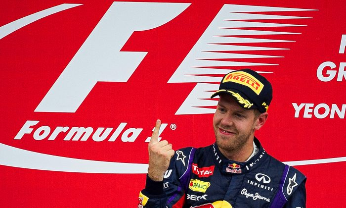 Number One again—and again and again and again: Red Bull driver Sebastian Vettel of Germany celebrates after winning the Formula One Korean Grand Prix in Yeongam on October 6, 2013. (Nicolas Asfouri/AFP/Getty Images)