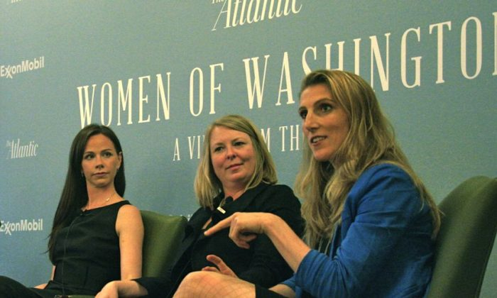 (L to R) Barbara Bush, Global Health Corps; Catherine Connor, Elizabeth Glaser Pediatric Aids Foundation; and Vanessa Kerry, Seed Global Health. Each panelist discussed her organization's critical work in the goal of providing basic health care to under-resourced countries. (Gary Feuerberg/ The Epoch Times)