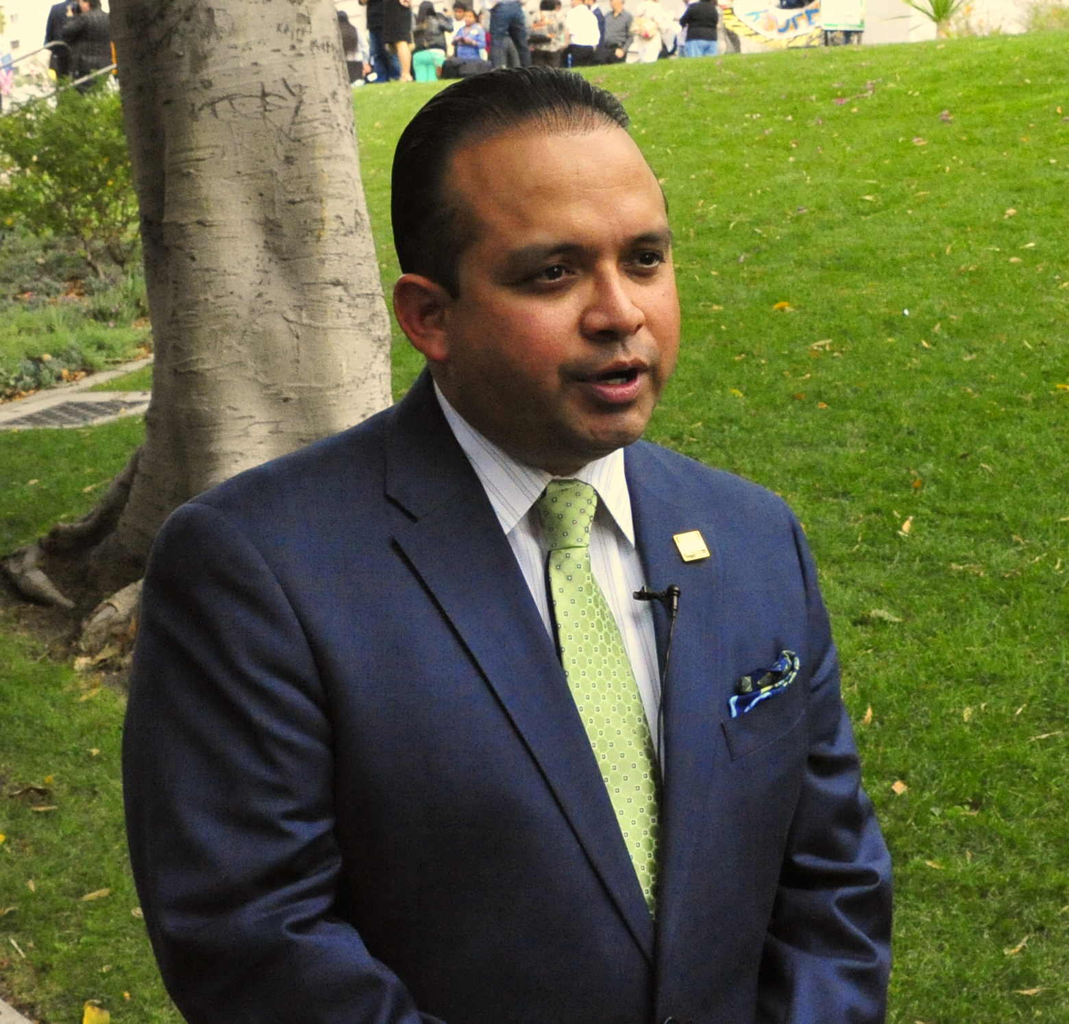 Sen. Luis Alejo (D-Salinas), author and sponsor of the Undocumented Immigrant Drivers License Bill, responding to media in Los Angeles on Oct. 3.
