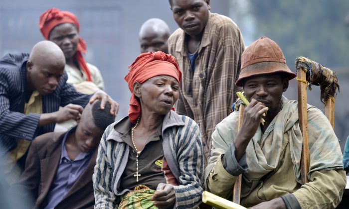People displaced by clashes between Congolese troops and M23 rebels in the eastern city of Rutshuru, DR Congo, Nov. 4, 2013. (Junior D. Kannah/AFP/Getty Images)