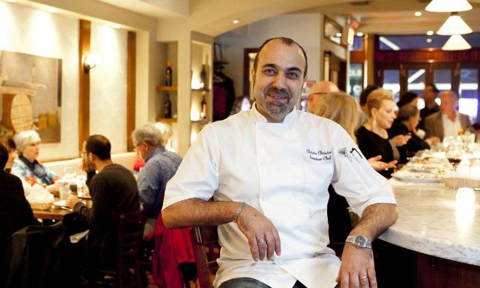 Chef Christos Christou, at his restaurant, Yefsi. (Samira Bousou/Epoch Times)