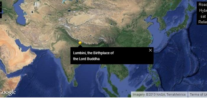 Lumbini, Nepal, the birthplace of the Buddha. (Google/NASA)