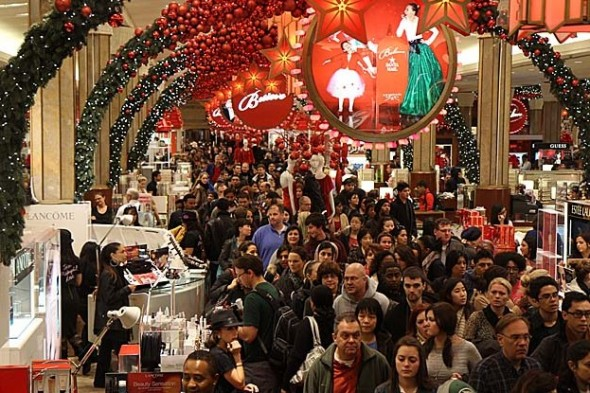 Shoppers crowd inside the Macy's 34th Street store in New York on Black Friday in 2012.' (Benjamin Chasteen/The Epoch Times)