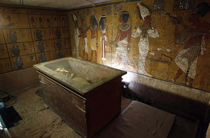 The sarcophagus of King Tutankhamun, known as the Child Pharaoh, remains empty in its burial chamber after the mummy was placed in a glass urn. (Cris Bouroncle/AFP/GettyImages)