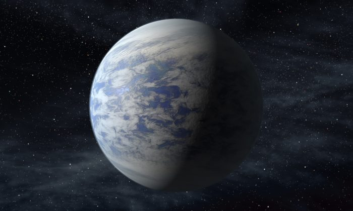 This artist's rendition provided by NASA shows Kepler-69c, a super-Earth-size planet in the habitable zone of a star like our sun, located about 2,700 light-years from Earth in the constellation Cygnus. (NASA via AP)