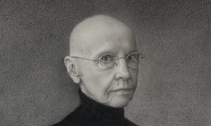 A crop of Erlebacher's self portrait, painted in 2011. (Martha Erlebacher)