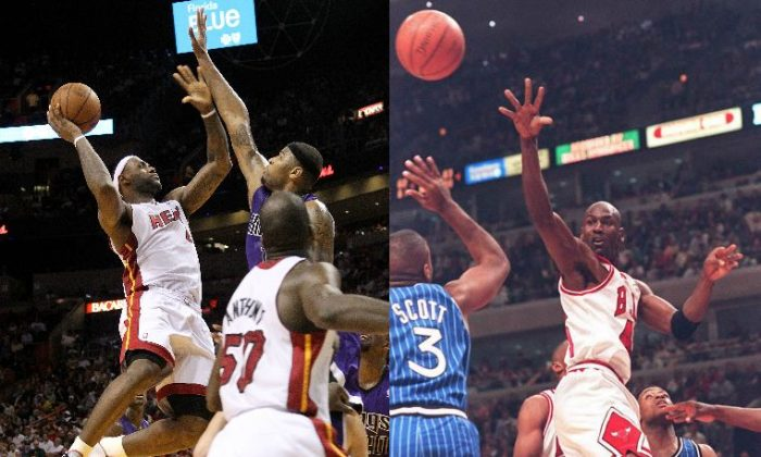 Left: LeBron James #6 of the Miami Heat shoots over DeMarcus Cousins #15 of the Sacramento Kings during a game at American Airlines Arena in Miami, Fla., on Feb. 22, 2011. (Mike Ehrmann/Getty Images) Right: Basketball star Michael Jordan (C) of the Chicago Bulls (C) dishes off a pass in the second quarter over the head of Orlando Magic guard Dennis Scott at the United Center in Chicago March 24, 1995. (Vincent LaForet/AFP/Getty Images)