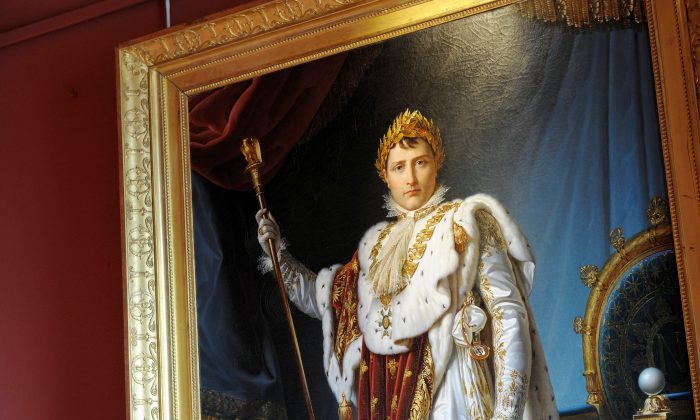 Painting by François Pascal Simon representing Corsica's Born French Emperor Napoleon Bonaparte 1 in his coronation suit, displayed at Ajaccio Fesch Palace on the French Mediterranean island of Corsica.(STEPHAN AGOSTINI/AFP/Getty Images)