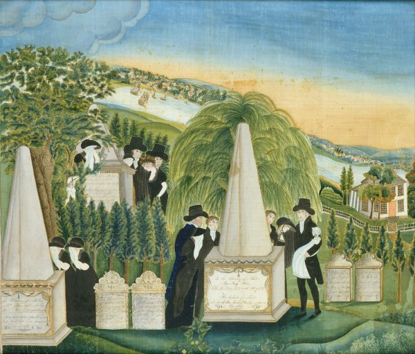 Memorial painting, ca. 1811, by Sally Miller (American, Litchfield, Conn.). (The Metropolitan Museum of Art)